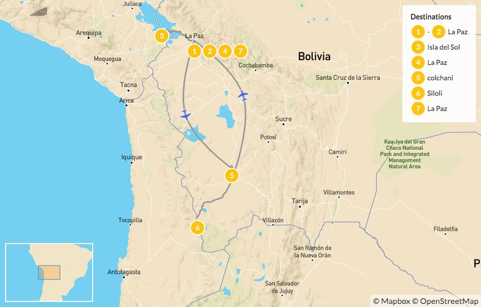Map of Bolivian Highlands: La Paz, Lake Titicaca, Uyuni & Eduardo Avaroa - 8 Days