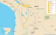 Map thumbnail of Bolivian Highlands: La Paz, Lake Titicaca, Uyuni & Eduardo Avaroa - 8 Days