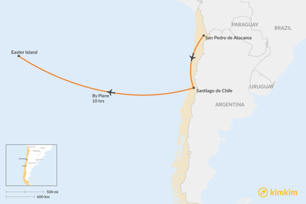 Map of How to Get from San Pedro de Atacama to Easter Island