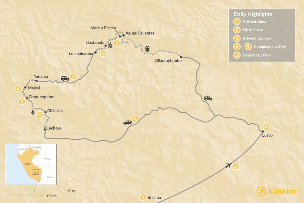 Map of Peru Adventure & Choquequirao Trek to Machu Picchu - 10 Days