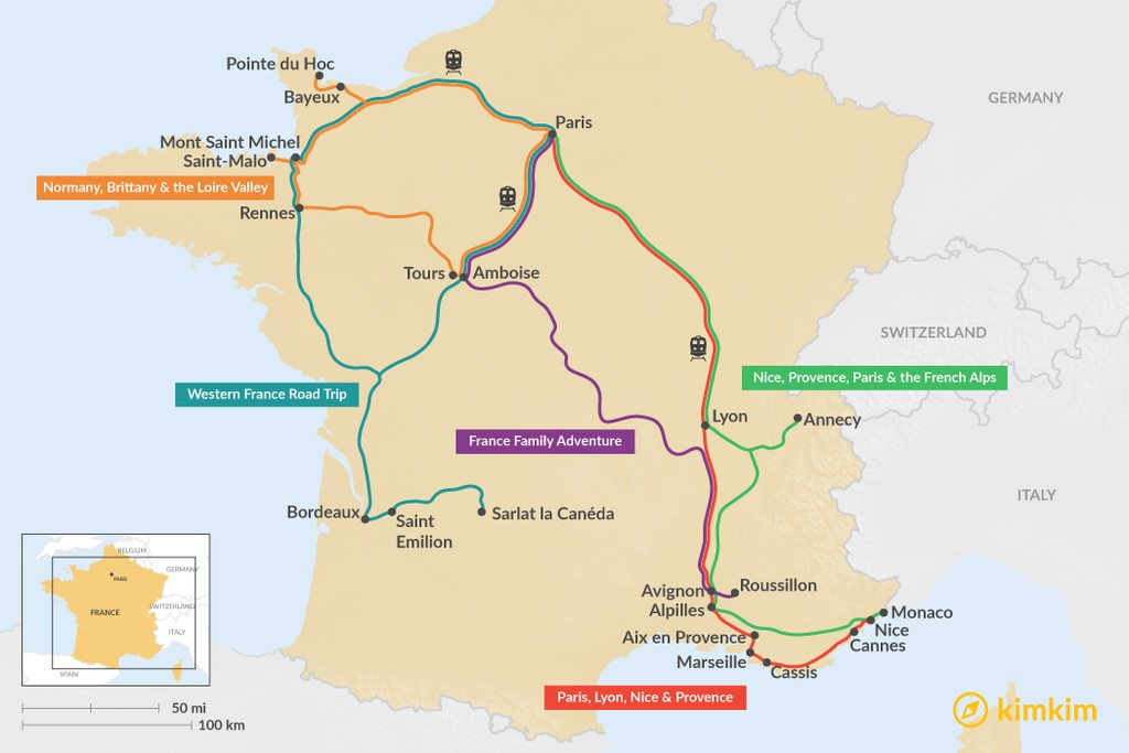 Map of 14 Days in France - 5 Unique Itinerary Ideas