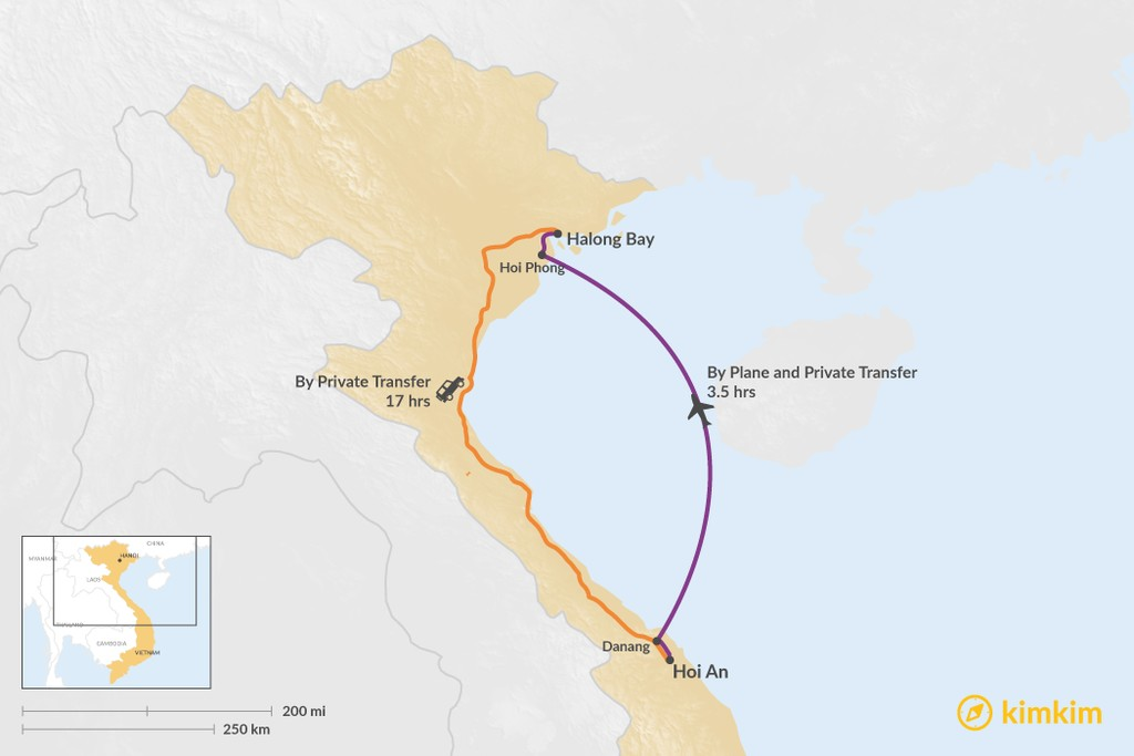 Map of How to Get from Hoi An to Halong Bay