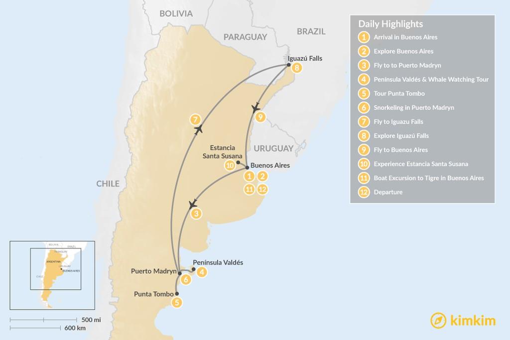 Map of Argentina Wildlife & Natural Highlights - 12 Days