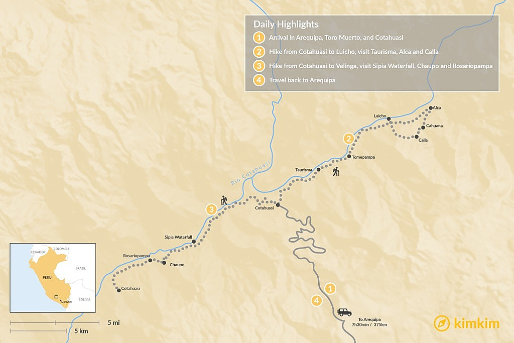 Map of Cotahuasi Canyon Trek