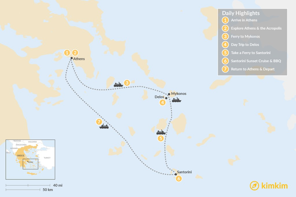 Map of Best of Greece: Athens, Mykonos & Santorini - 7 Days