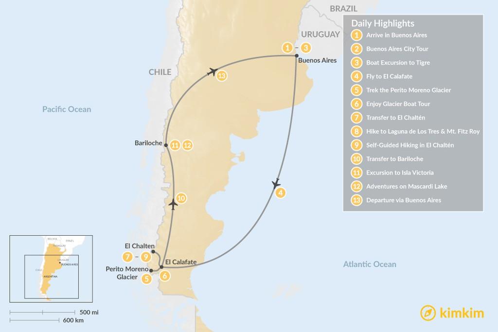 Map of Discover Patagonia: Buenos Aires, El Calafate, El Chaltén, & Bariloche  - 13 Days