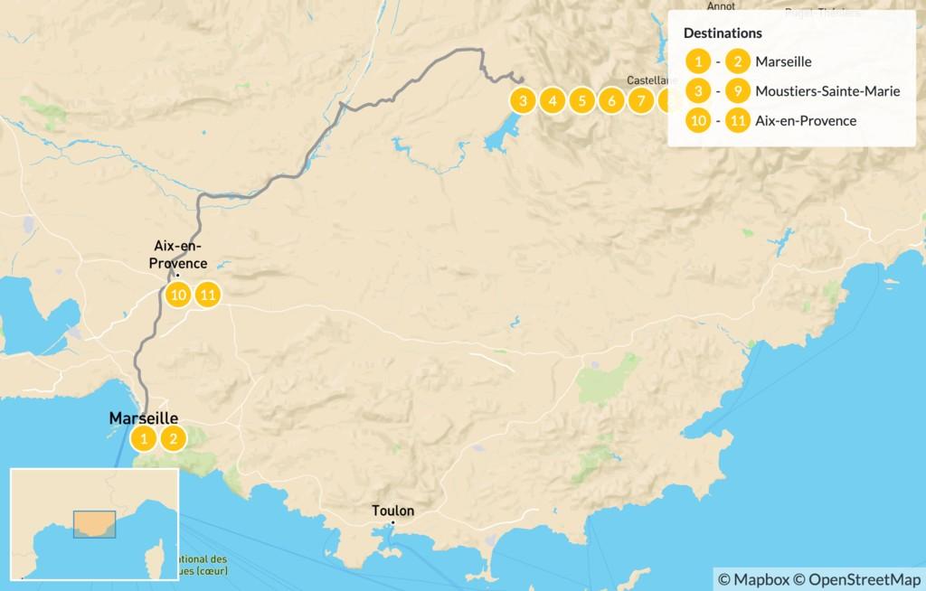 Map of Provençal Alps Adventure: Marseille, Verdon, &  Aix-en-Provence - 12 Days