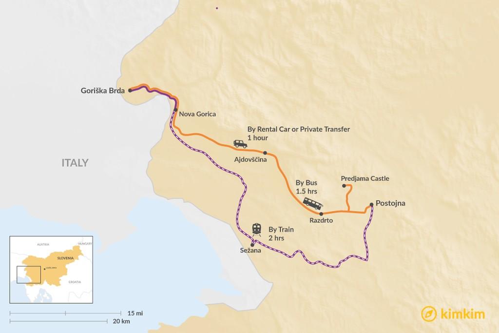 Map of How to Get from Goriška Brda to Postojna