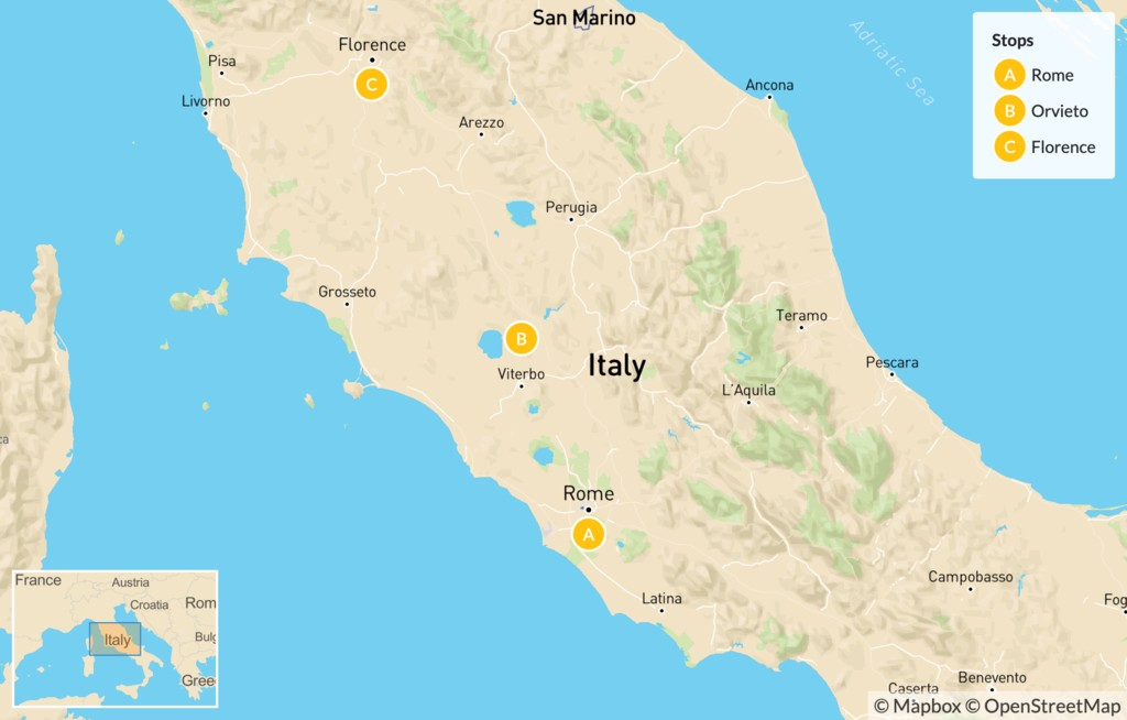 Map of Rome, Orvieto, & Florence - 9 Days