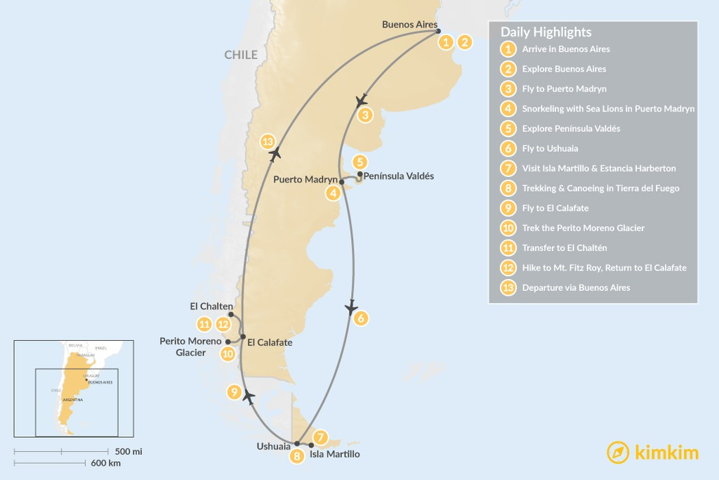 Map of Patagonia Adventure: Puerto Madryn, Ushuaia, El Calafate, & El Chaltén - 13 Days
