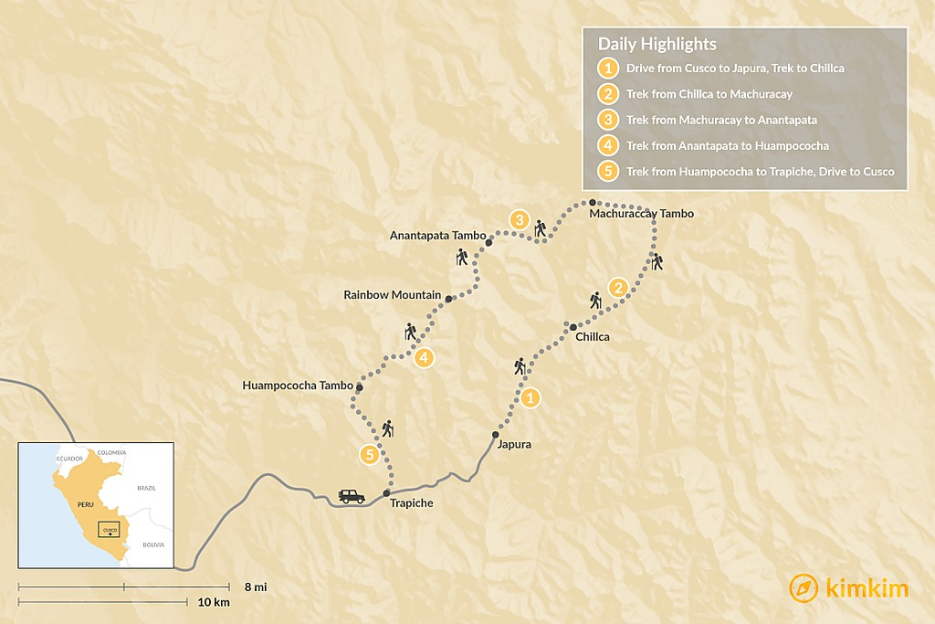 Map of The Ausangate Lodge-to-Lodge Trek
