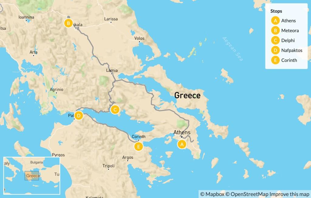 Map of Family Exploration of Mainland Greece: Athens, Meteora, Delphi, Nafpaktos & Corinth - 10 Days