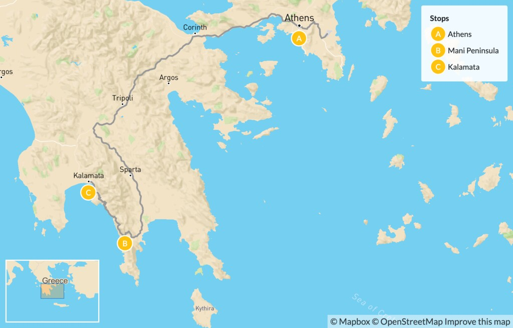Map of Greek Culture & Adventure for Families: Athens & the Peloponnese - 14 Days