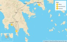 Map thumbnail of Greek Culture & Adventure for Families: Athens & the Peloponnese - 14 Days