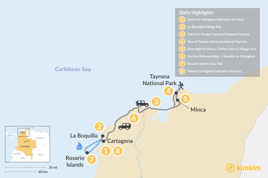 Map of Colombia Coastal Adventure - 8 Days