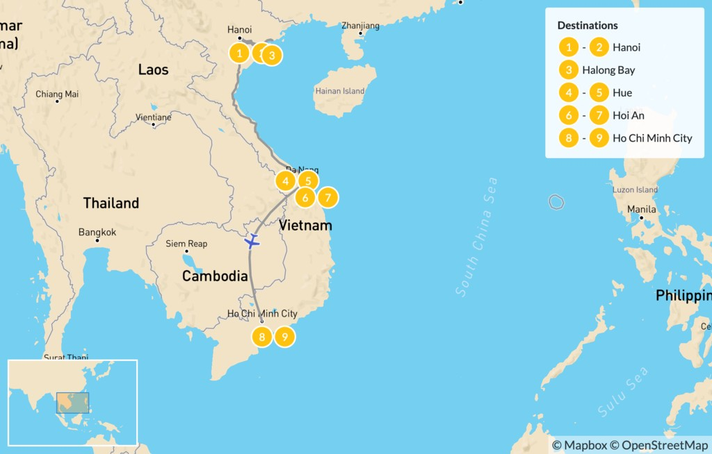 Map of Highlights of Vietnam: Hanoi, Ha Long Bay, Hue, Hoi An, & More - 10 Days