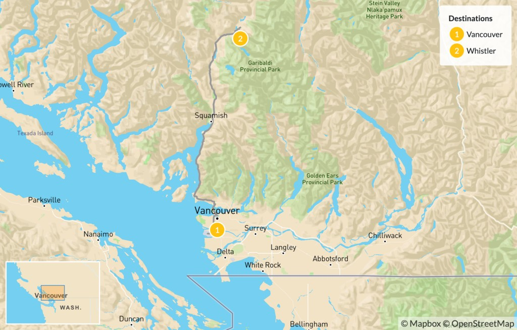 Map of Sea-to-Sky Highway: Vancouver to Whistler - 3 Days