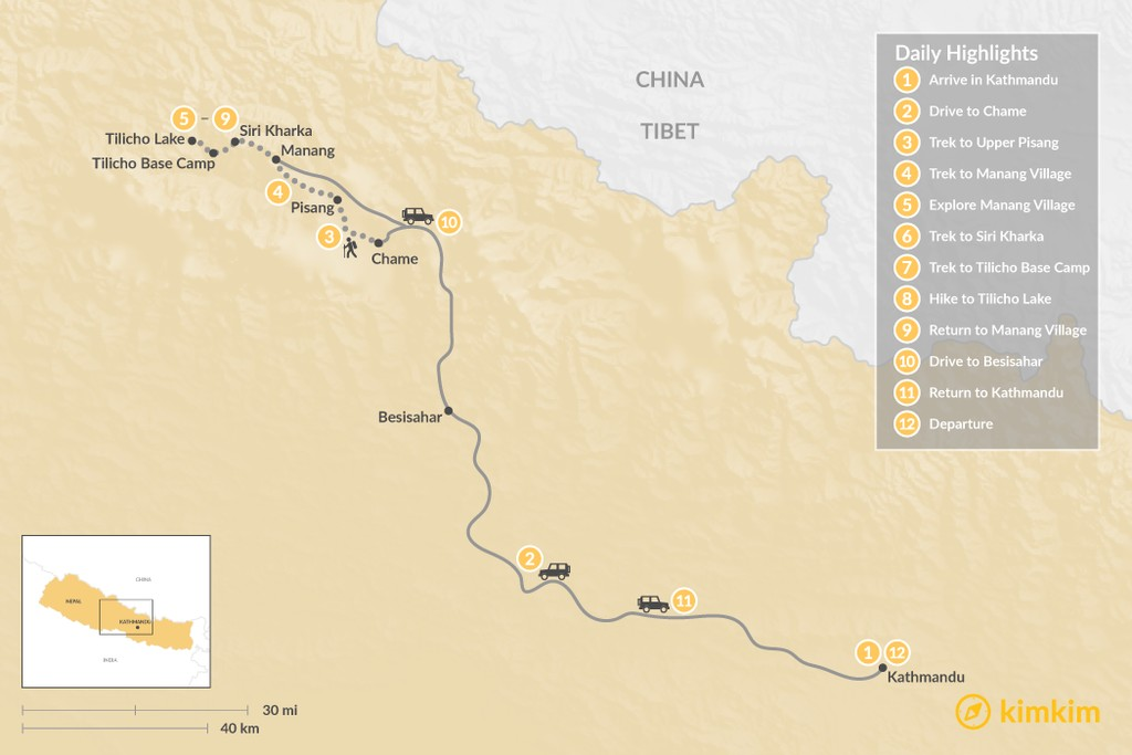 Map of Himalayan Trek to Tilicho Lake - 12 Days