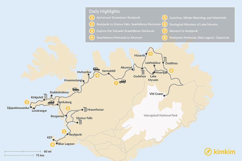 Map of Iceland Road Trip: Reykjavik to Akureyri - 8 Days