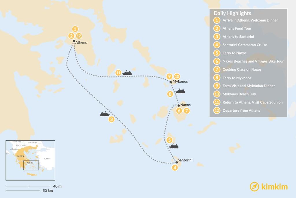 Map of Relaxed Athens, Santorini, Naxos & Mykonos - 12 Days