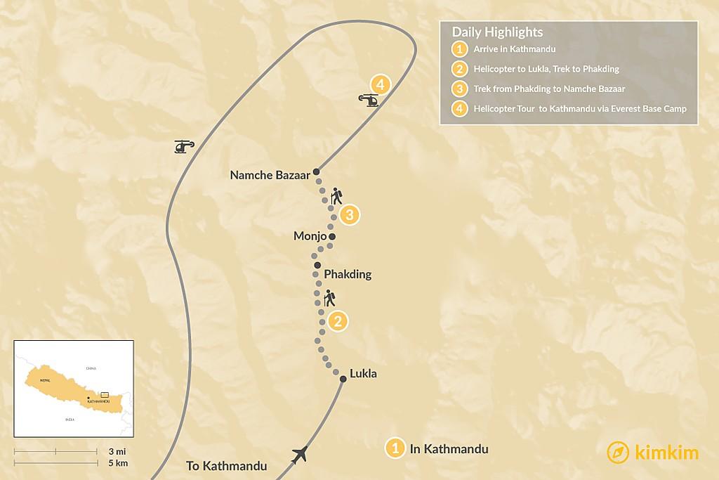 Map of Luxury Everest Heli Trek - 4 Days