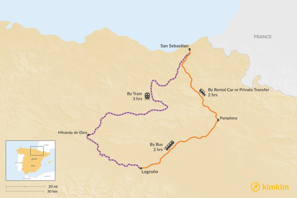 Map of How to Get from San Sebastian to La Rioja