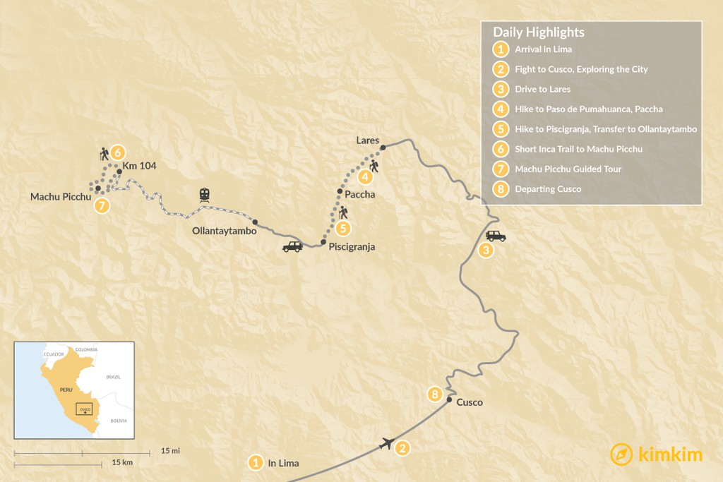 Map of Lares Valley Trek & Short Inca Trail - 8 Days