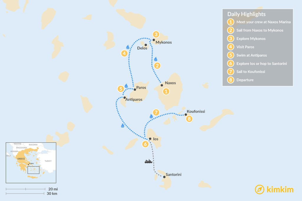 Map of Sailing the Greek Cyclades Islands - 8 Days