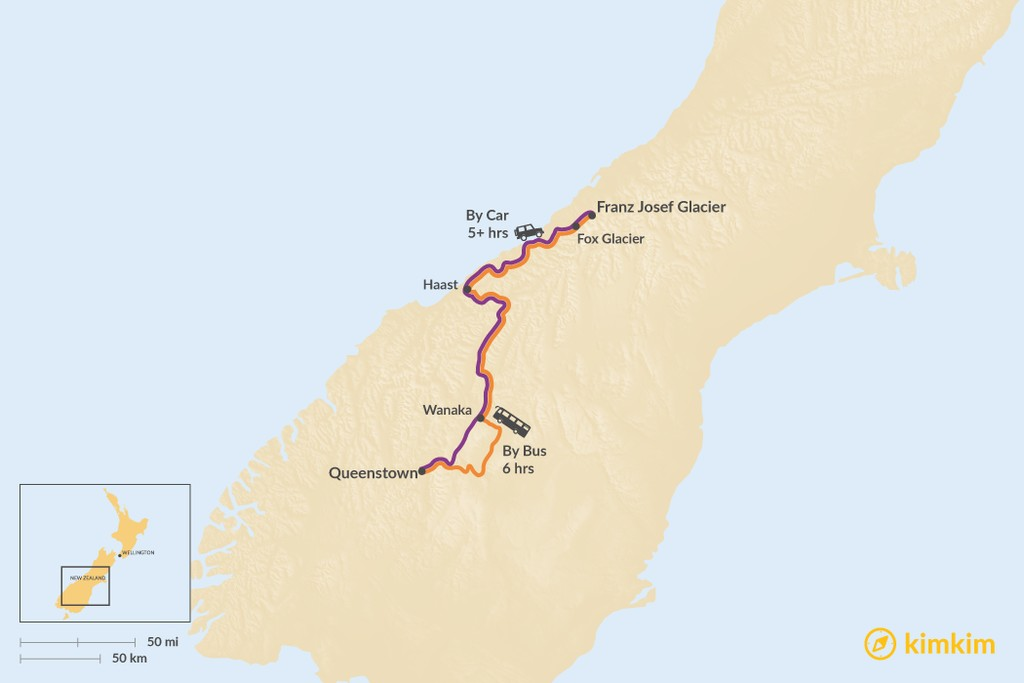 Map of How to Get from Queenstown to Franz Josef Glacier