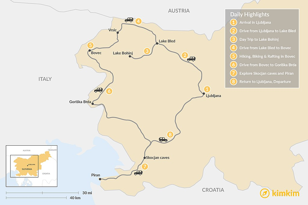 Map of Highlights of Slovenia - 8 Days