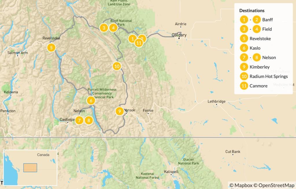 Map of Kootenay Rockies: Hot Springs Circle Route - 12 Days