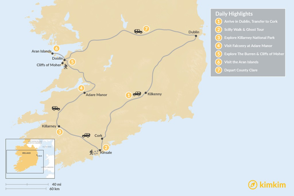 Map of Family Adventure in Ireland - 7 Days