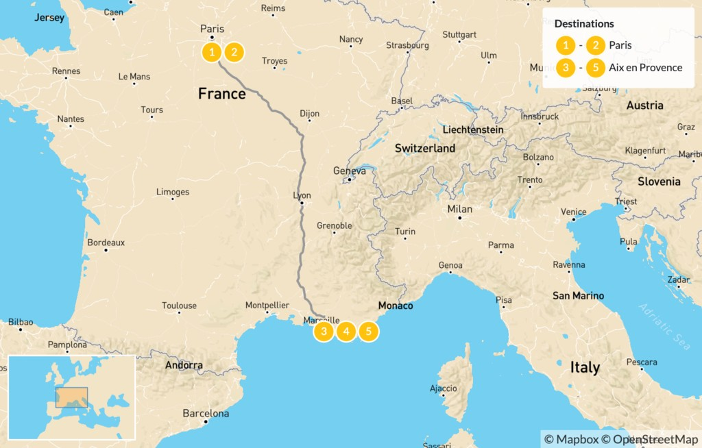 Map of Luxury, Art, & Food in France: Paris & Provence - 6 Days