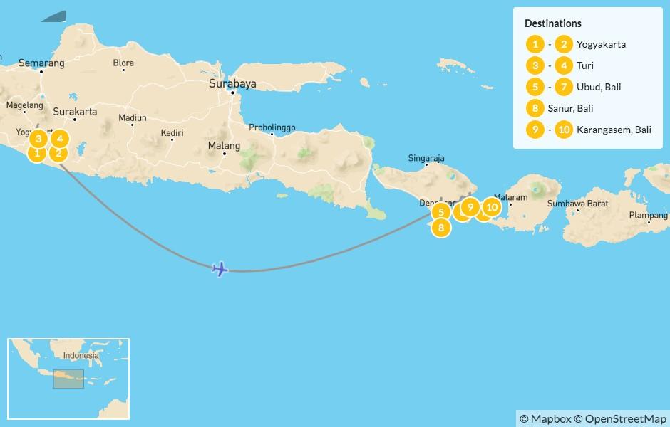 Map of Indonesian Temples & Culture: Yogyakarta, Turi, Ubud & Karangasem - 11 Days