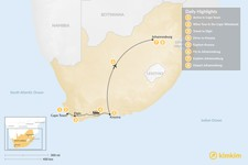 Map thumbnail of South Africa Food & Wine Tour: Cape Town, Garden Route, & Johannesburg - 8 Days