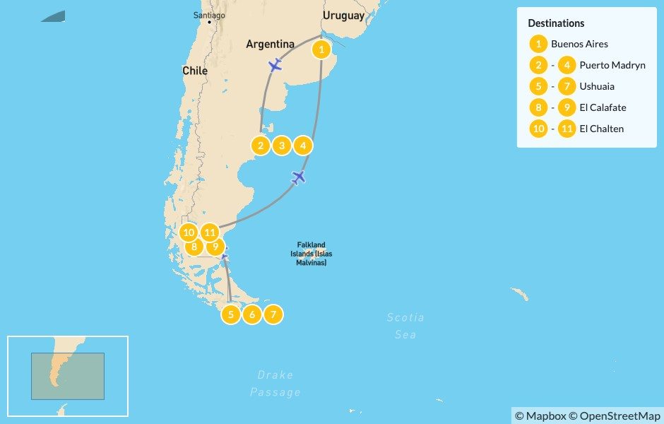Map of Patagonia Adventure: Puerto Madryn, Ushuaia, El Calafate, El Chaltén - 12 Days