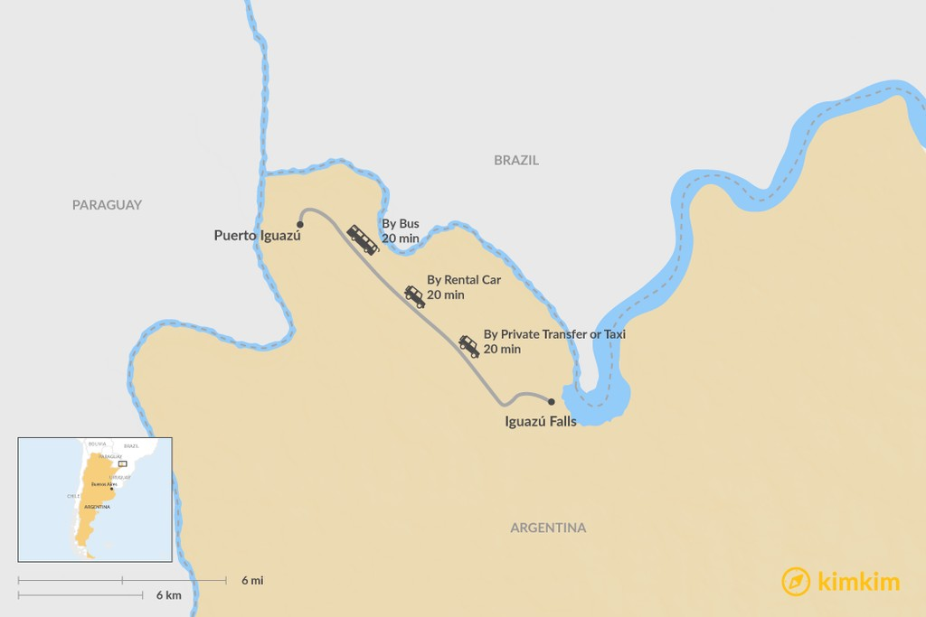 Map of How to Get from Puerto Iguazú to Iguazú Falls