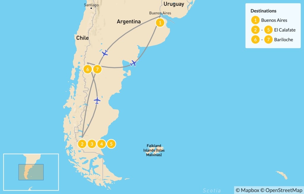 Map of Bariloche & El Calafate Classic Tour - 8 Days