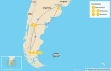 Map thumbnail of Bariloche & El Calafate Classic Tour - 8 Days