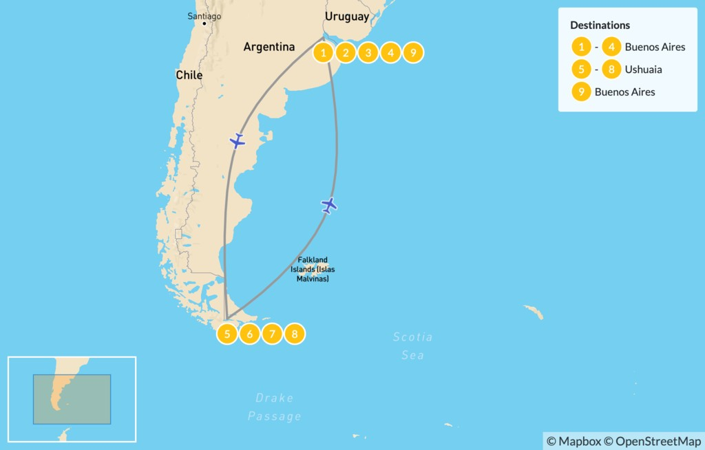 Map of Discover Buenos Aires & Ushuaia - 10 Days
