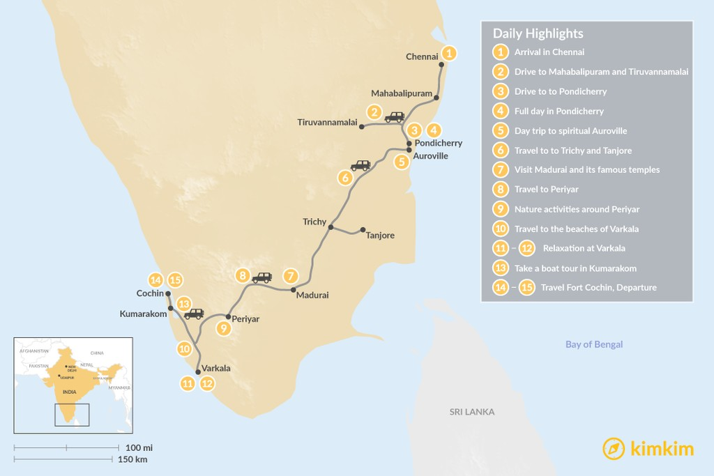 Map of South India Odyssey - 15 Days