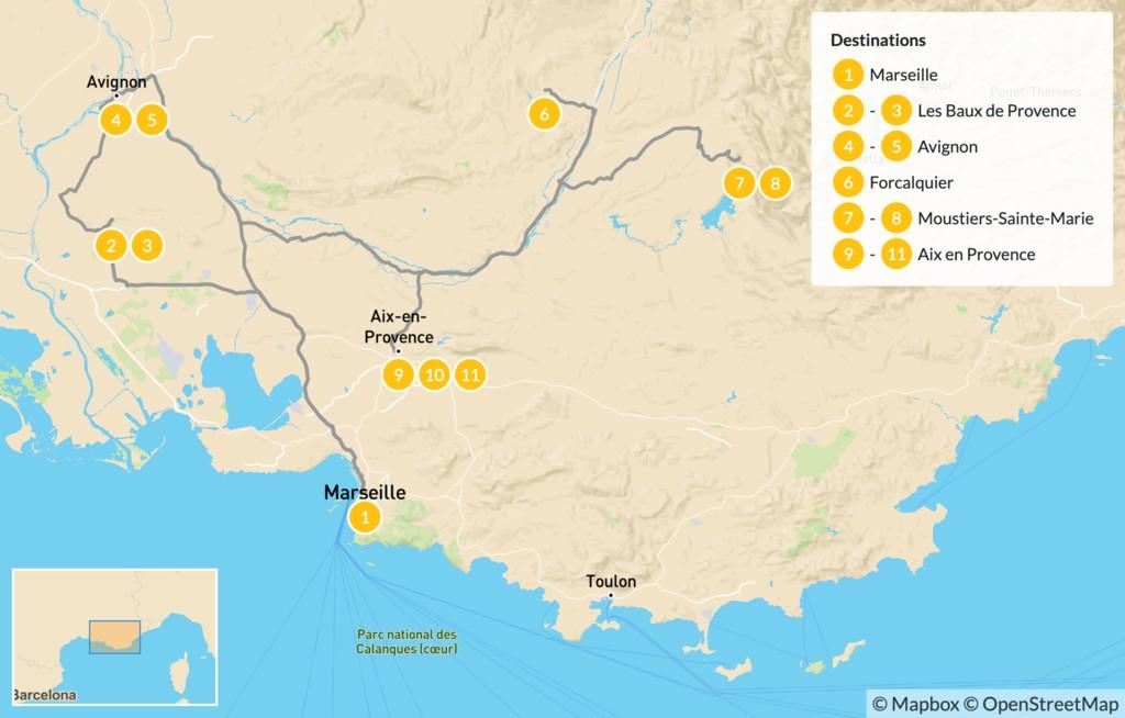 Map of Pure Provence Road Trip: Marseille, Avignon, Verdon Gorge & More  - 12 Days