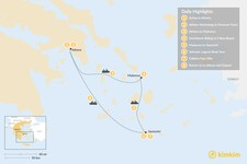 Map thumbnail of Active Athens, Mykonos, and Santorini - 8 Days