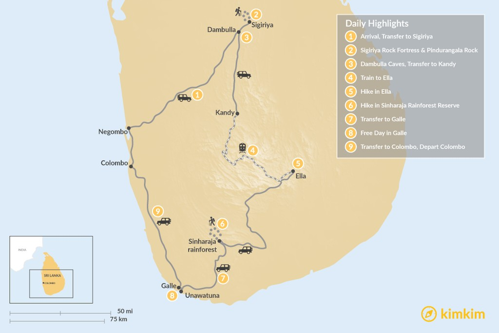 Map of Sri Lanka Active Adventure - 9 Days