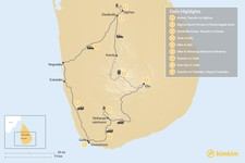 Map thumbnail of Sri Lanka Active Adventure - 9 Days