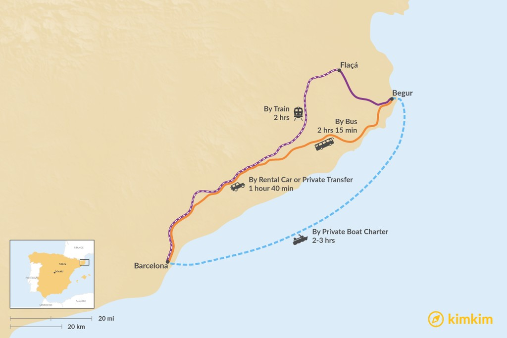 Map of How to Get from Barcelona to Begur