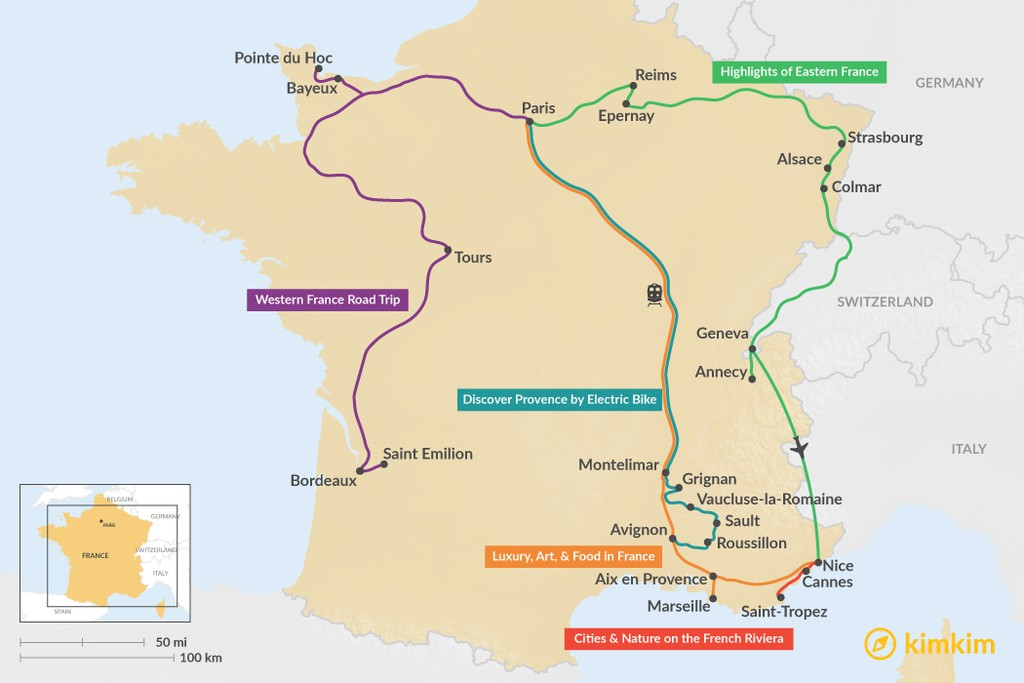 Map of 12 Days in France - 7 Unique Itinerary Ideas