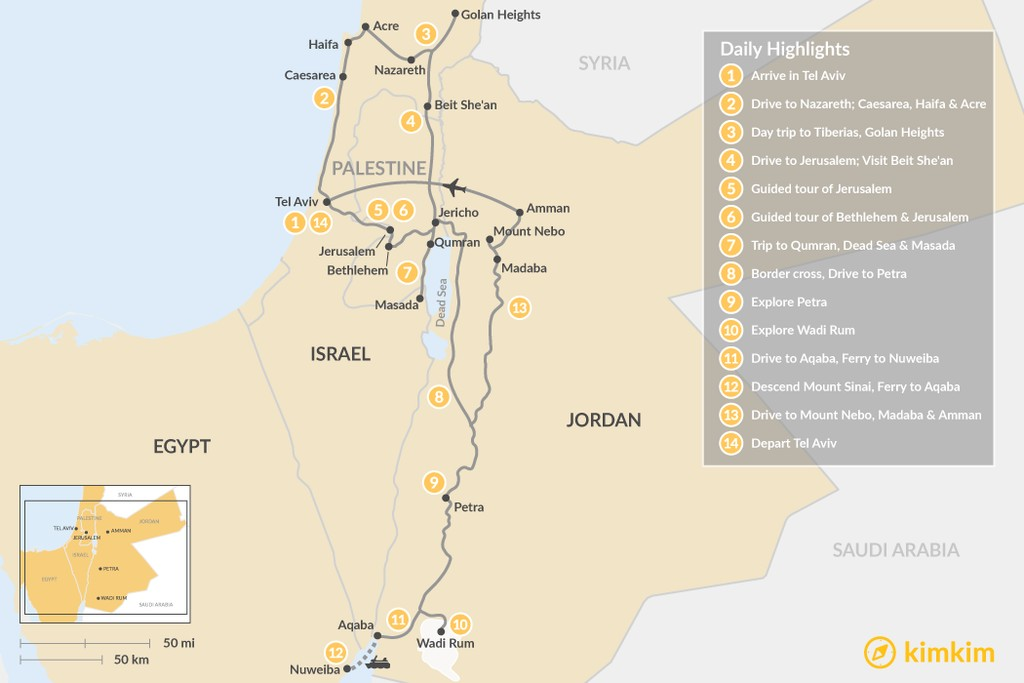 Map of Highlights of the Holy Land: Israel, Jordan & Egypt - 14 Days