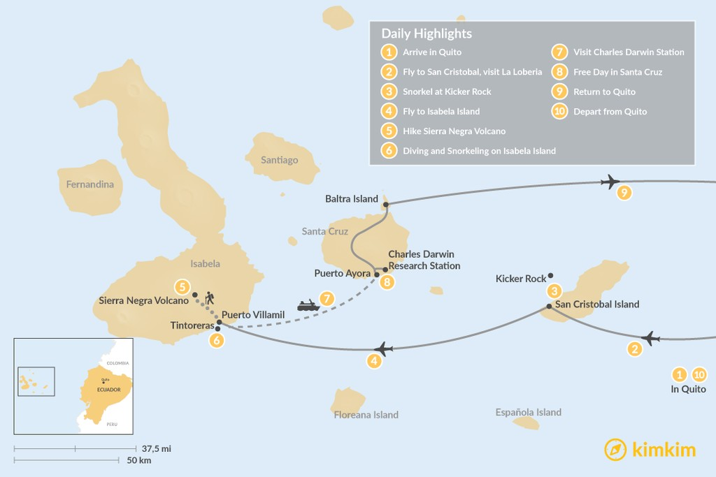 Map of Galapagos Islands Multisport Adventure - 10 Days