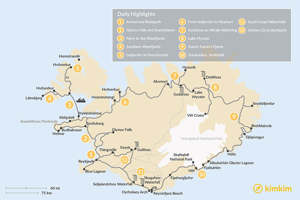 Map of Iceland Ring Road & Westfjords Adventure - 12 Days